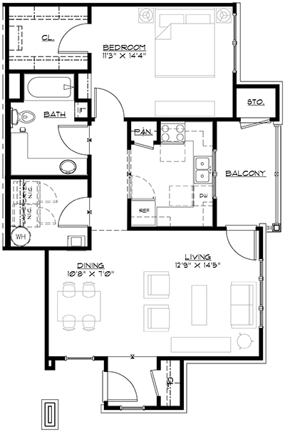 Floorplan Phase III Unit A The Glen Apartment Homes Cartersville GA