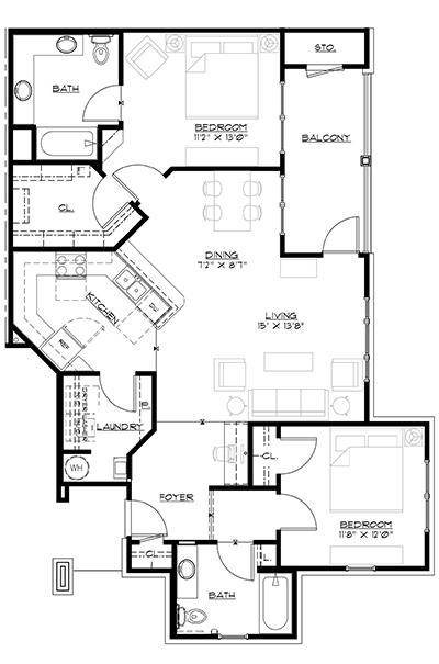 Floorplan Phase III Unit B The Glen Apartment Homes Cartersville GA